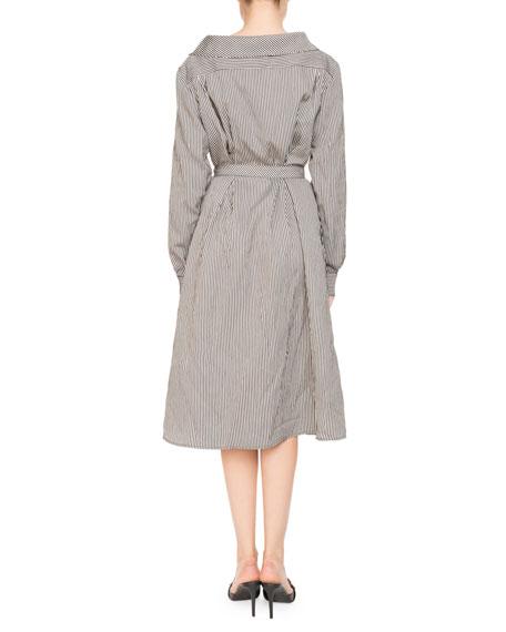Albany Long-Sleeve Belted Pinstripe Midi Dress