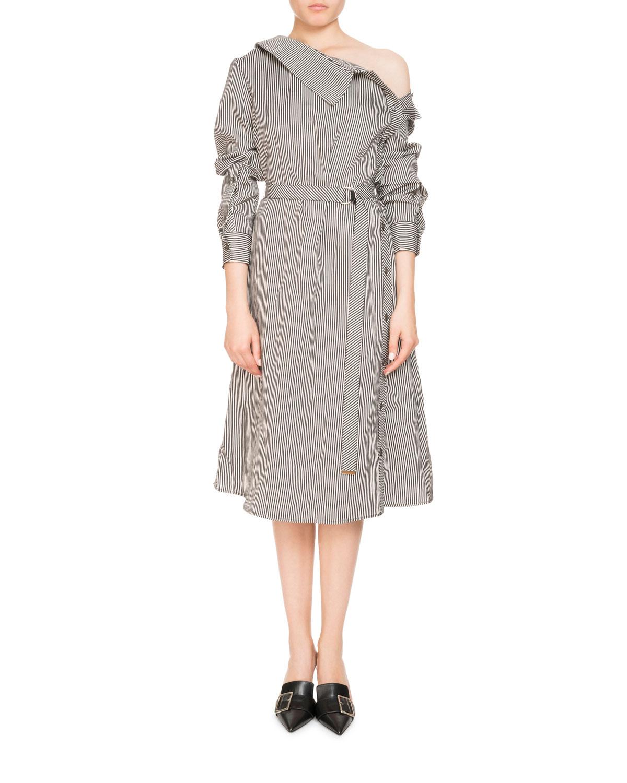 0ba2e0d5d92c Altuzarra Albany Long-Sleeve Belted Pinstripe Midi Dress