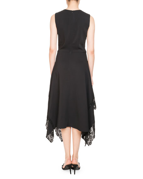 Alana Jewel-Neck Sleeveless A-Line Dress W/ Lace Hem