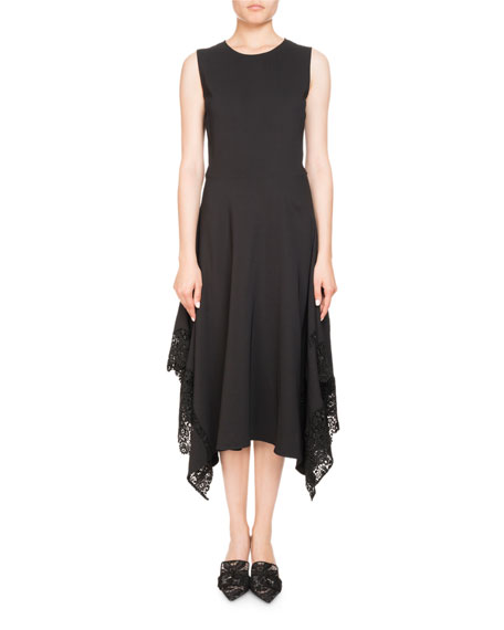 Altuzarra Alana Jewel-Neck Sleeveless A-Line Dress W/ Lace