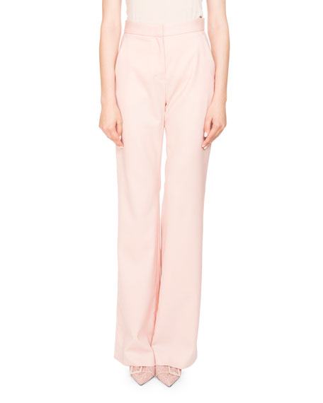 Altuzarra Milio High-Waist Wide-Leg Wool Pants w/ Satin