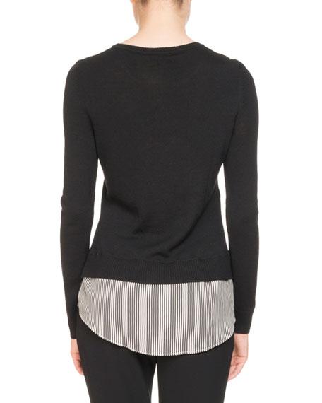 Walkaloosa Crewneck Wool Sweater w/ Pinstripe Shirt Hem
