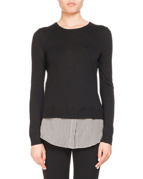 Altuzarra Walkaloosa Crewneck Wool Sweater w/ Pinstripe Shirt