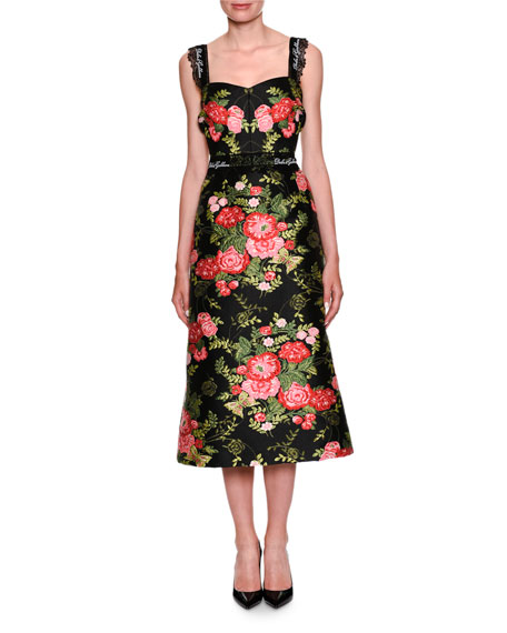Dolce & Gabbana Sweetheart-Neck Sleeveless Rose-Jacquard Midi