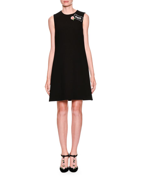 Sleeveless Cocktail Shift Dress with Tag Applique
