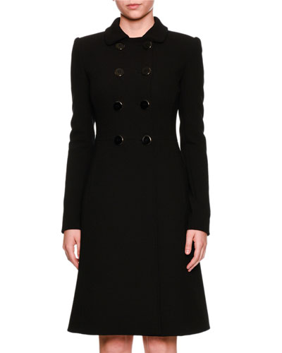 Double-Breasted Button Wool Top Coat