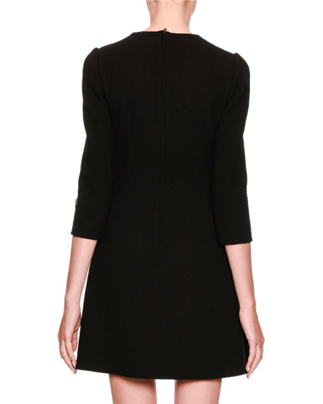 3/4-Sleeve Cocktail Dress with Heart Applique