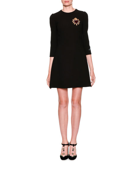 Dolce & Gabbana 3/4-Sleeve Cocktail Dress with Heart
