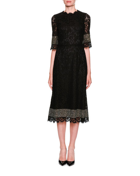Dolce & Gabbana High-Neck Short-Sleeve Heavy Lace Cocktail