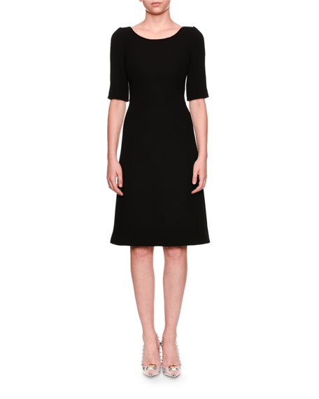 Elbow-Sleeve Jewel-Button Back Wool Cocktail Dress