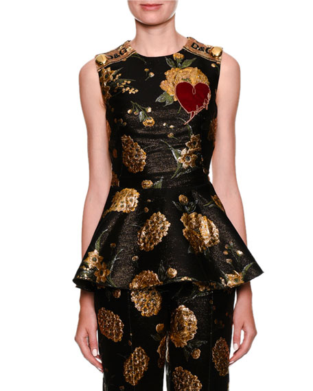 Sleeveless Jacquard Peplum Top w/ Heart Applique