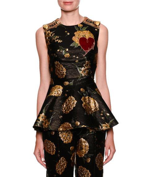 Sleeveless Jacquard Peplum Top w/ Heart Applique