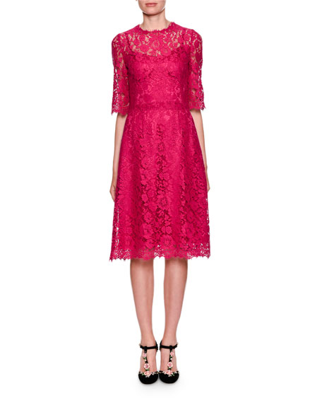 Dolce & Gabbana Elbow-Sleeve Heavy Lace A-Line Cocktail