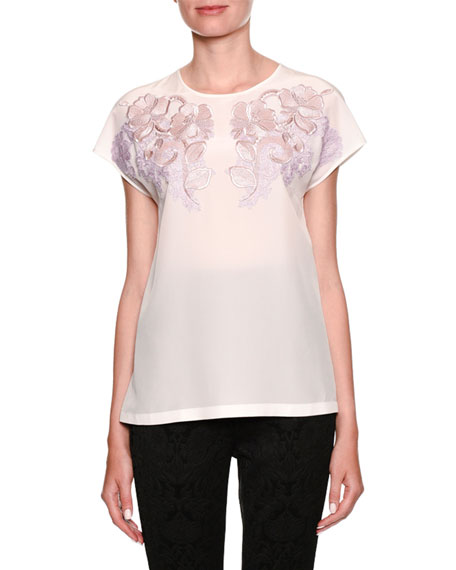 Crewneck Cap-Sleeve Silk Blouse w/ Lace Applique
