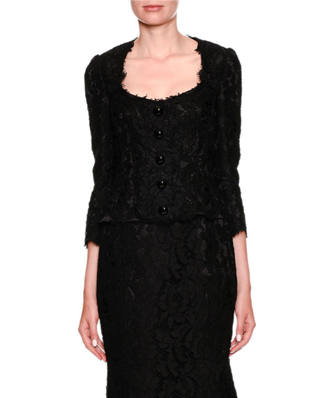 Dolce & Gabbana Long-Sleeve Button-Front Lace Jacket and