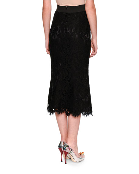 Elastic Waistband A-line Tea-Length Lace Skirt