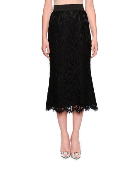 Dolce & Gabbana Elastic Waistband A-line Tea-Length Lace