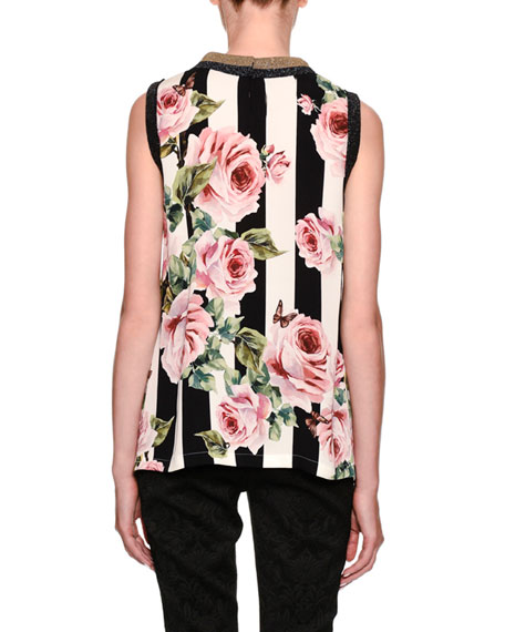Sleeveless Stripes & Rose Print Silk Blouse