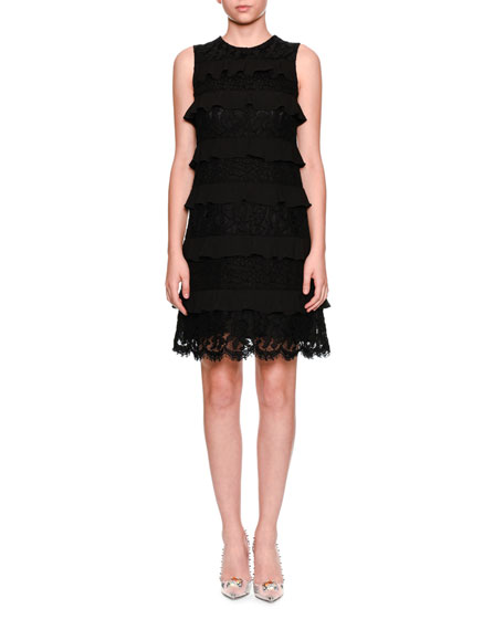 Dolce & Gabbana Sleeveless Tiered Lace Cocktail Shift