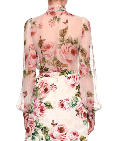 Long-Sleeve Rose-Print Chiffon Blouse w/ Tie Neck