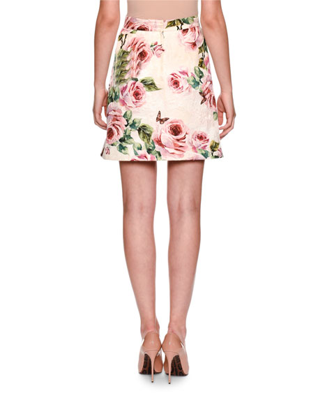 Brocade Rose-Print A-Line Overlap Skirt w/ Button Trim
