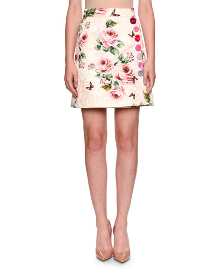 Dolce & Gabbana Brocade Rose-Print A-Line Overlap Skirt