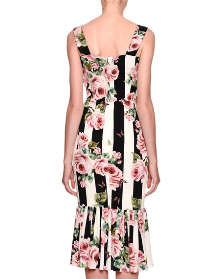 Sleeveless Floral-Striped Midi Dress