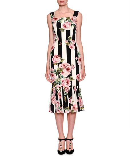 Dolce & Gabbana Sleeveless Floral-Striped Midi Dress