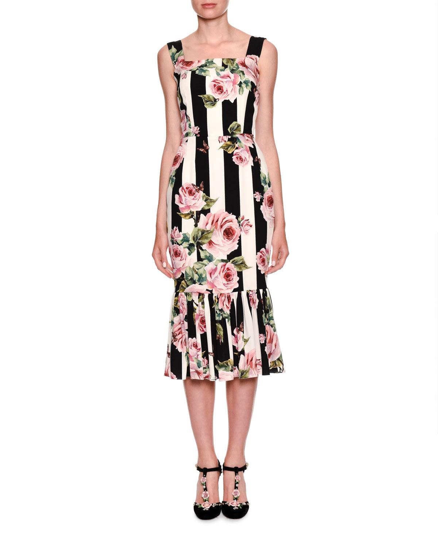 ebf8697bd995 Dolce   Gabbana Sleeveless Floral-Striped Midi Dress