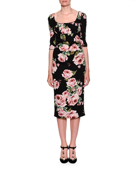 Dolce & Gabbana Elbow-Sleeve Scoop-Neck Rose-Print Sheath