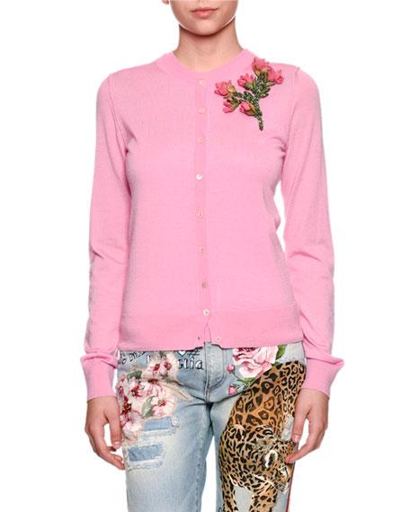 Dolce & Gabbana Crewneck Button-Front Cashmere Cardigan w/