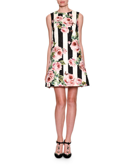 Dolce & Gabbana Sleeveless Floral Striped Brocade Dress