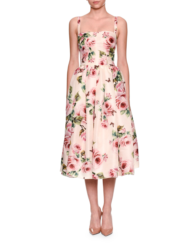 084ccee3f97cc Dolce & Gabbana Sleeveless Rose-Print Organza Cocktail Dress ...