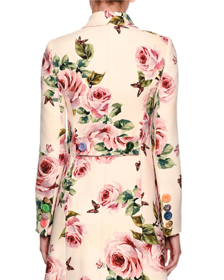Rose-Print Double-Breasted Wool Top Coat w/ Jeweled Buttons