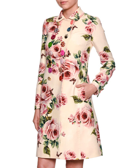 Dolce & Gabbana Rose-Print Double-Breasted Wool Top Coat