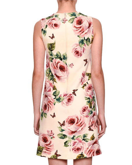 Sleeveless A-Line Rose-Print Wool Dress