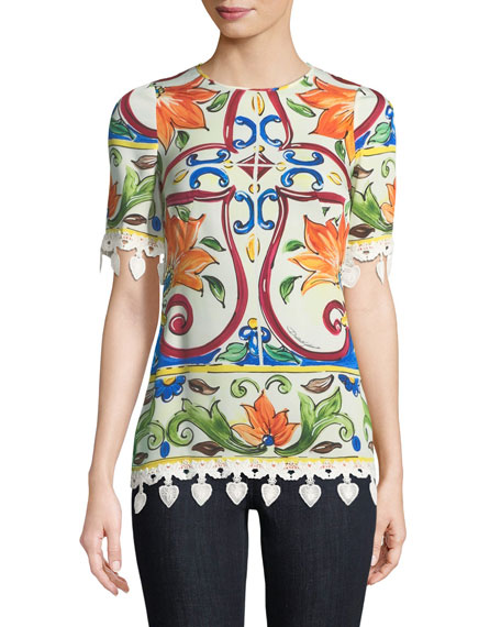 Short-Sleeve Maiolica-Print Top with Crochet Trim