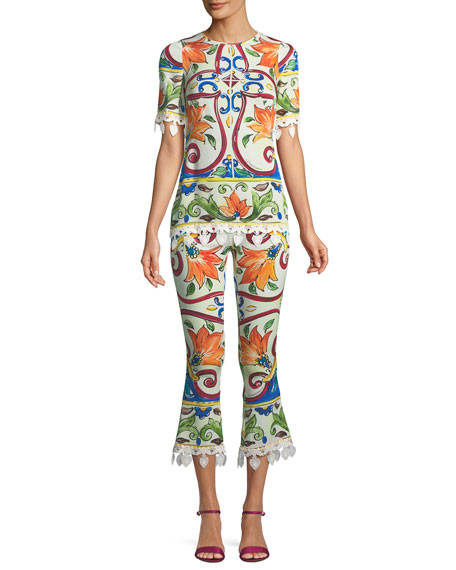Maiolica-Print Cropped Pant w/ Crochet Cuff Detail