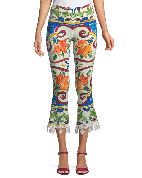 Dolce & Gabbana Maiolica-Print Cropped Pant w/ Crochet