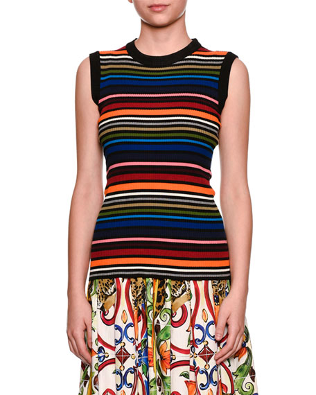 Sleeveless Crewneck Multicolor Striped Knit Top