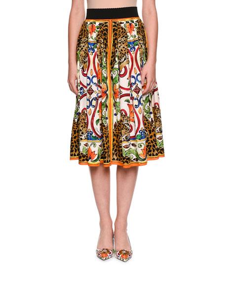 Maiolica & Leopard Print A-Line Cotton Poplin Skirt