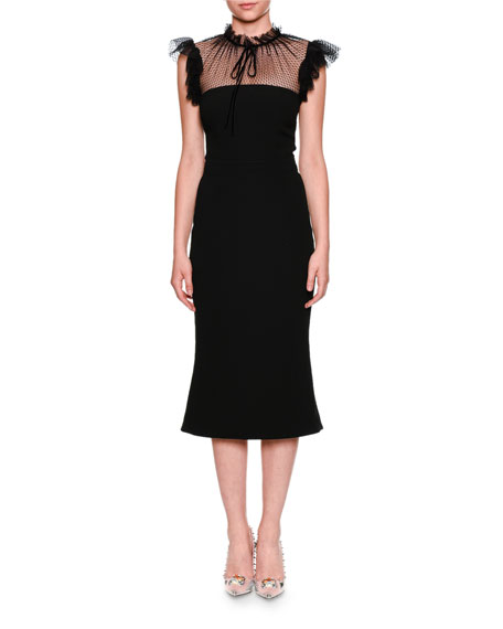 Dolce & Gabbana Tulle Tie-Neck Cady Cocktail Midi