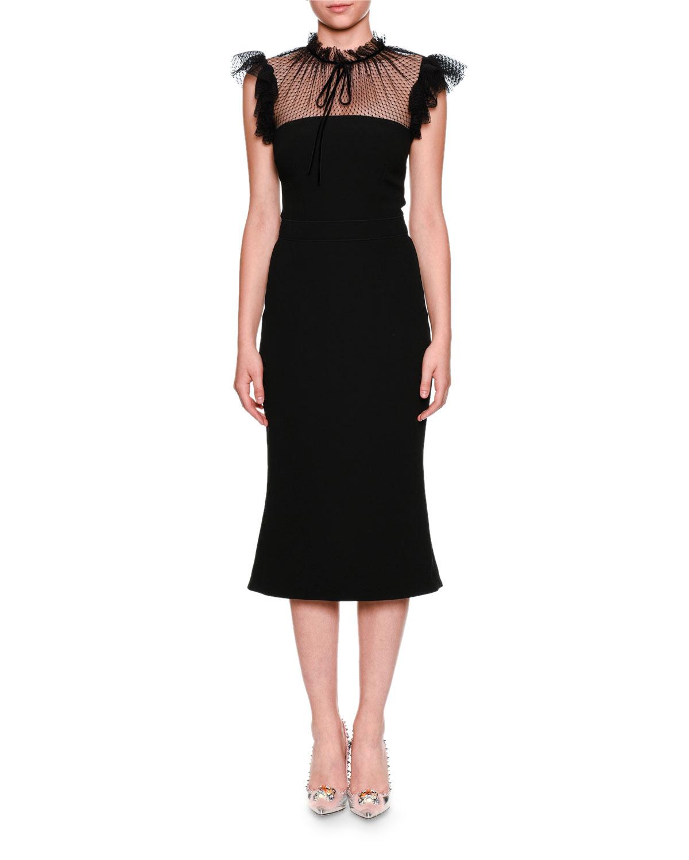 6462add273 Dolce   Gabbana Tulle Tie-Neck Cady Cocktail Midi Dress