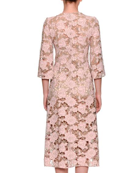 Elbow-Sleeve Macrame Lace Dress