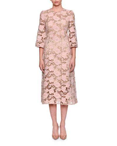 Dolce Gabbana Elbow Sleeve Macrame Lace Dress
