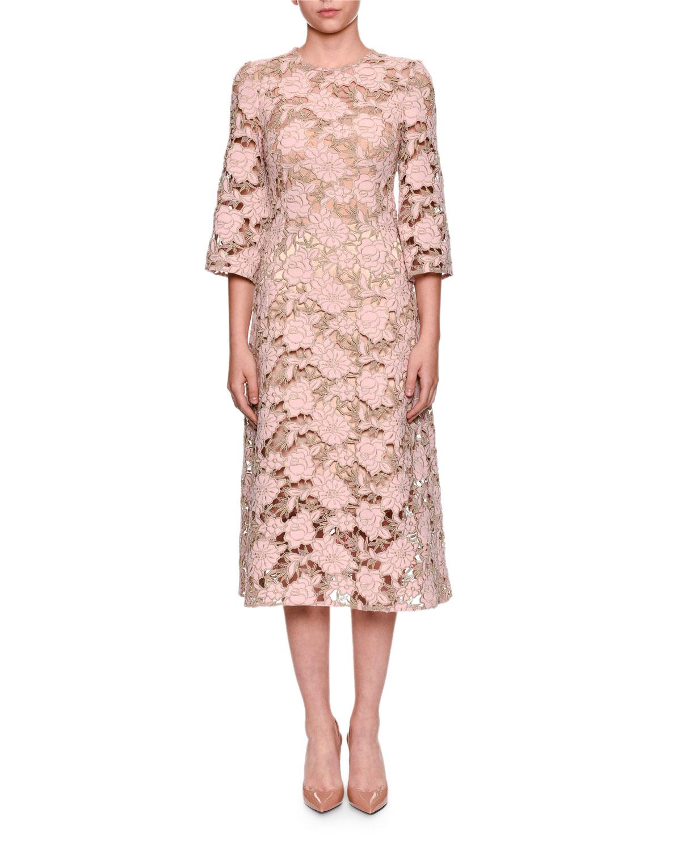 03be7e35d9 Dolce   Gabbana Elbow-Sleeve Macrame Lace Dress