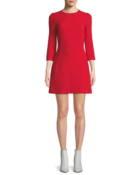 Dolce & Gabbana 3/4-Sleeve A-Line Button-Back Wool Dress