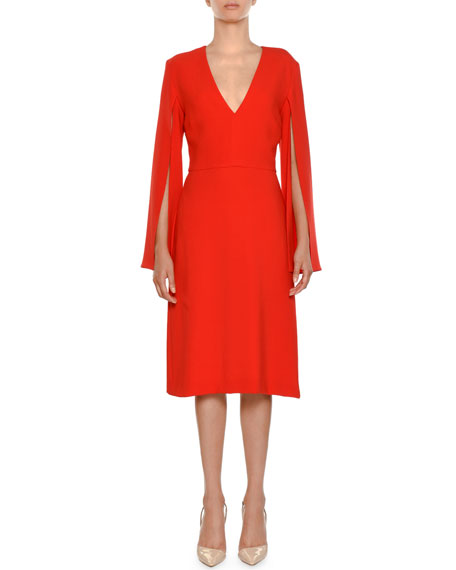 V-NECK SPLIT-SLEEVE SHEATH DRESS