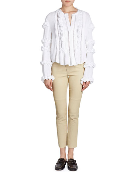Isabel Marant Cosmos Button-Front Blouse with Ruffled Trim