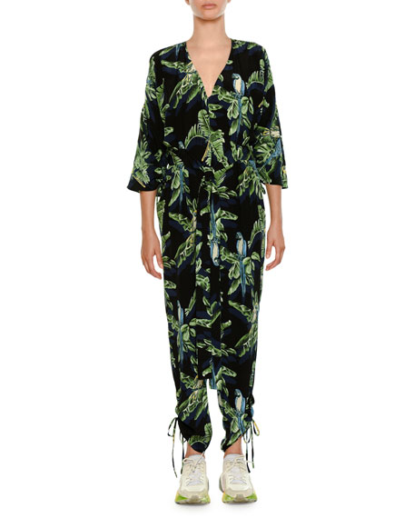 Stella McCartney Birds Of Paradise V-Neck Drawstring-Hem Jumpsuit